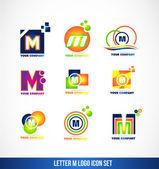 Letter M logo icon set — Stock Vector