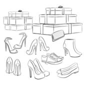Various fashion shoes and boxes — Wektor stockowy
