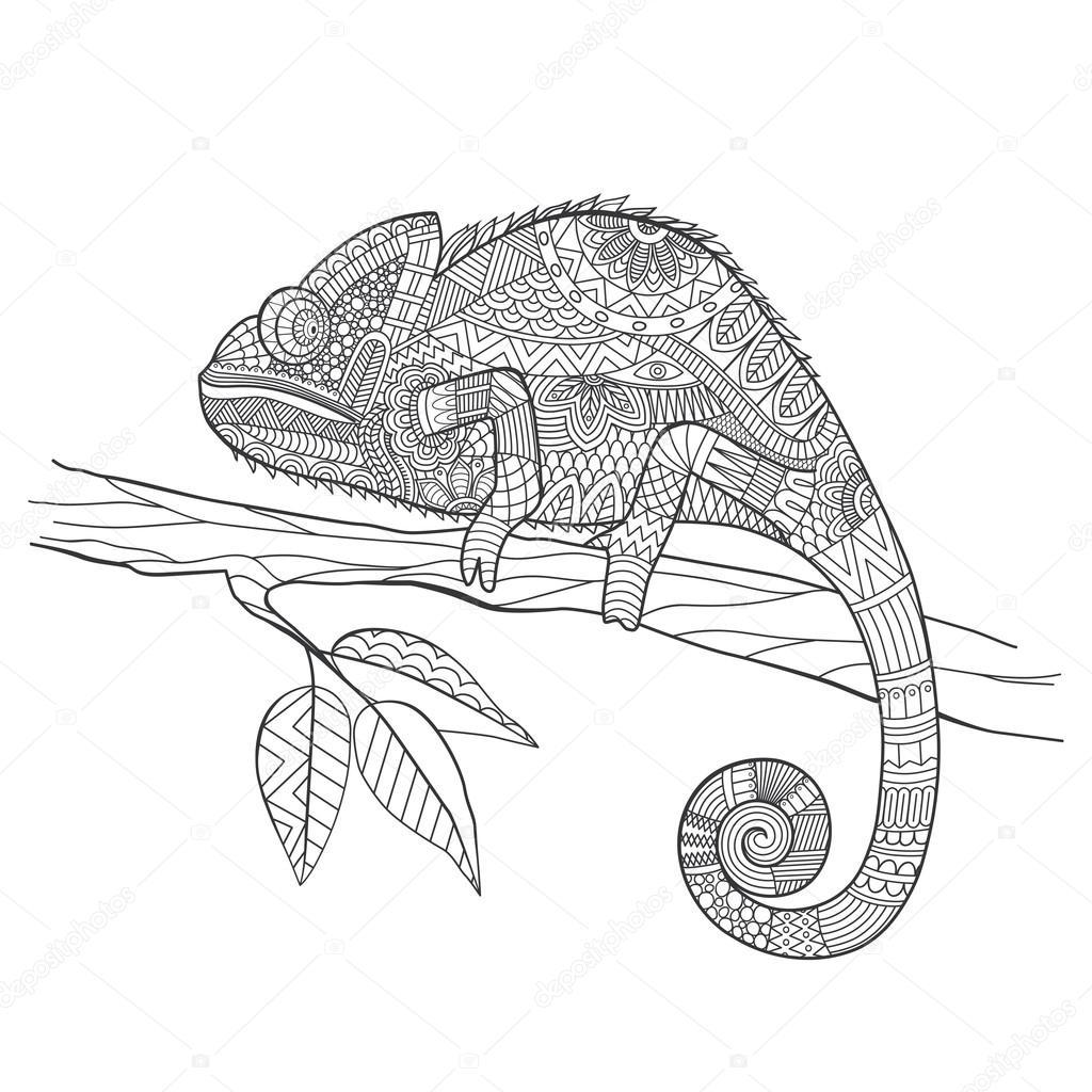 zentangle stylizowane jaszczurka kameleon ręcznie