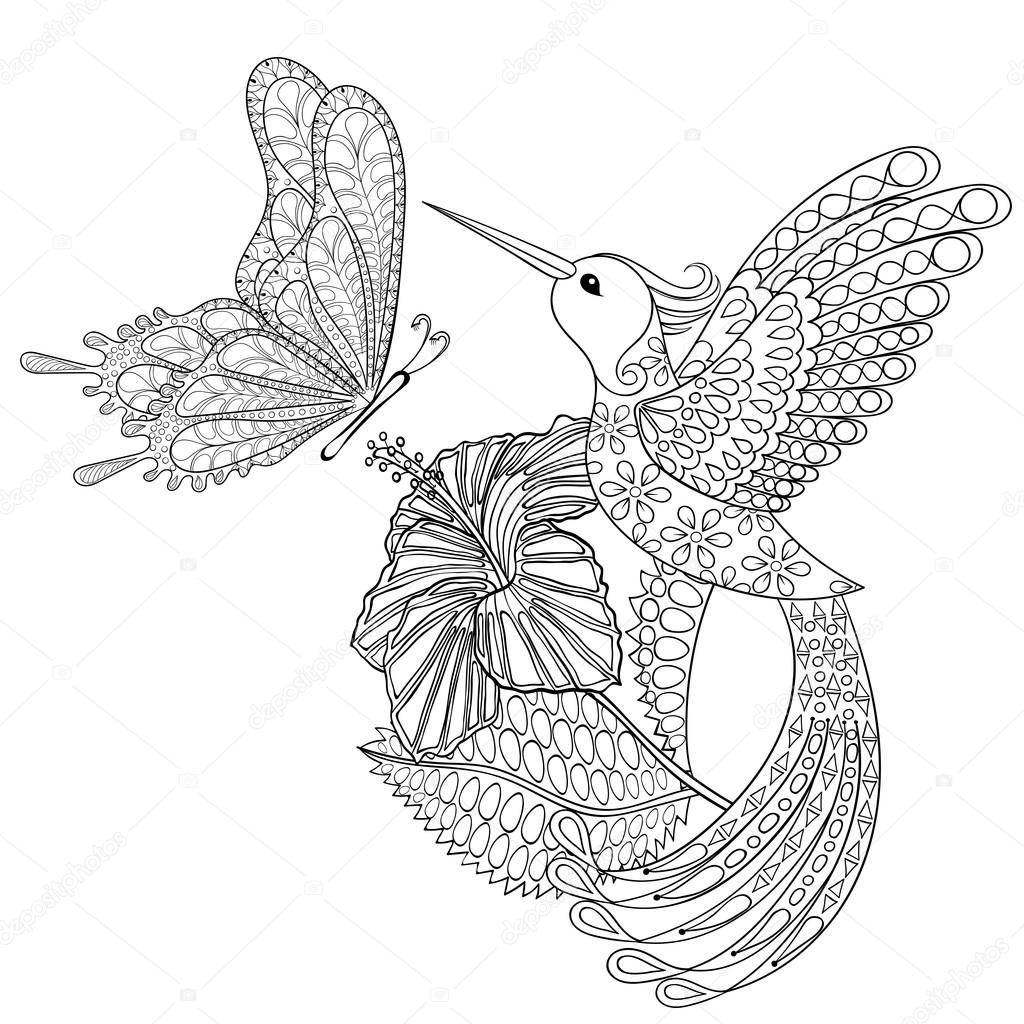 Hand gezeichnet Zentangle Stammes-fliegenden Schmetterling, Kolibri in ...