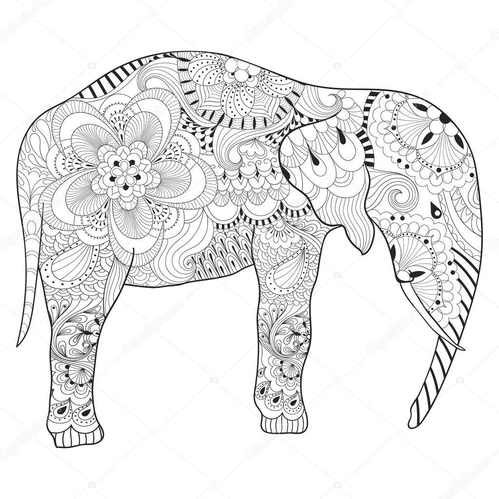 Zentangle Dessines A La Main Elephant Avec Mandala Pour