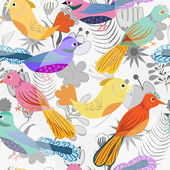 Flovers and birds pattern — Stock Vector