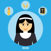 Nun icon in flat style — Stock Vector