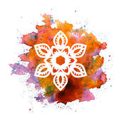 Snowflake on watercolor blot — Stock Vector