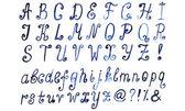 Blue watercolor alphabet. Hand drawn artistic font. Vector illus — Stock Vector