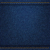 Denim jeans texture with strings and seams. Vector illustration — Stockvector