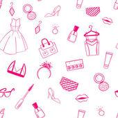 Fashion seamless pattern. Dress, ear rings, lipstick illustratio — Stock Vector