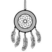 Ethnic Boho dream catcher with feathers. American Indian symbol  — Cтоковый вектор