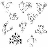 Set 10 birds in doodle style. — Stock vektor