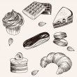 Vector various cakes and bakery doodle sketch set — Stock Vector #66261643
