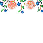 Watercolor cute border with blue romantic flowers, roses. Hand d — Vetor de Stock