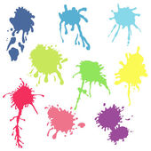 Colorful paint ink splashes — Stock Vector