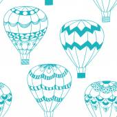 Pattern with air balloons in doodle style — Vetor de Stock
