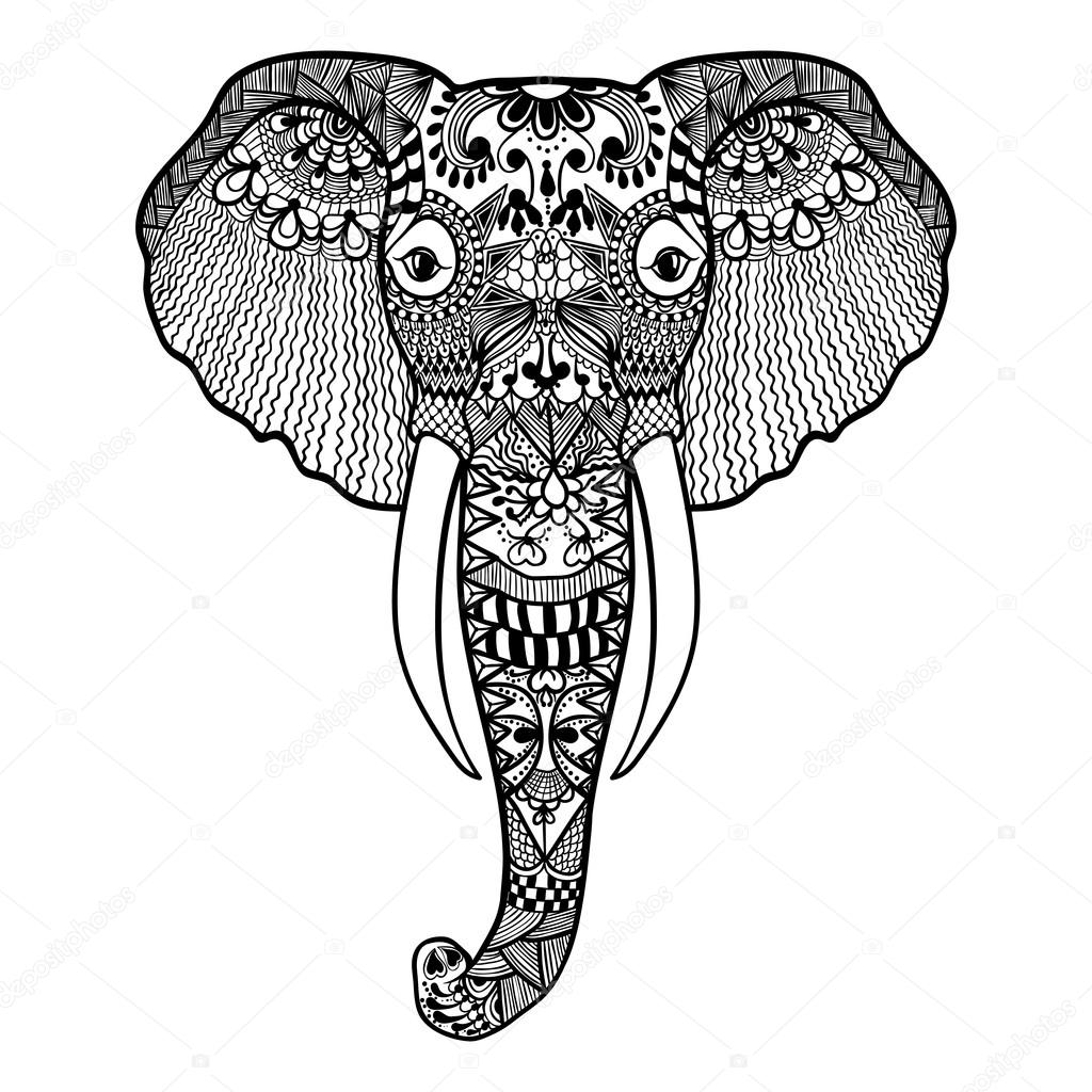 free zentangle elephant coloring pages - photo#20