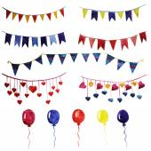 Garlands and balloons for party — Stock Vector
