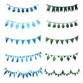 Watercolor set vintage green garlands — Stock Vector
