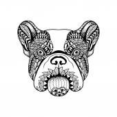 Zentangle stylized French Bulldog face. Hand Drawn Dog doodle ve — Stock Vector