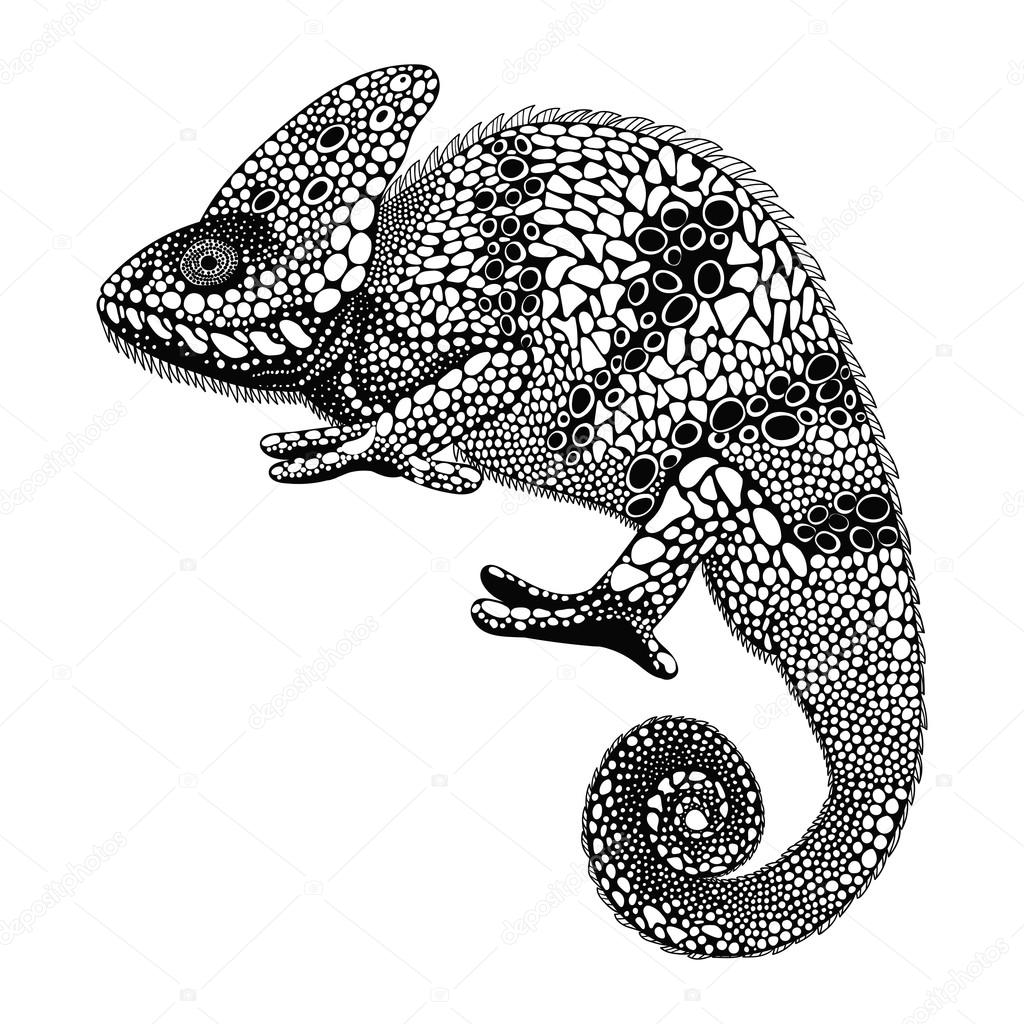 Chameleon Tattoo Designs Drawings: Zentangle Stylized Chameleon. Hand Drawn Reptile Vector