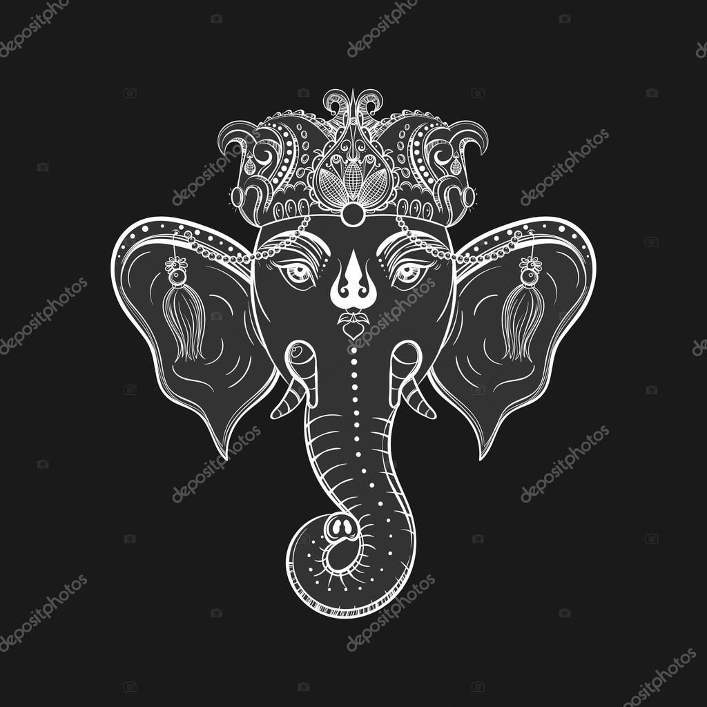 Hand Drawn Elephant Head. Indian God Lord Hindu Deity Ganesha. G