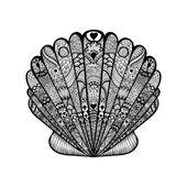 Zentangle stylized black sea shell. Hand Drawn  doodle vector il — Vecteur