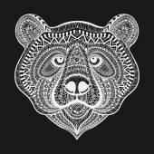 Zentangle stylized White Bear face. Hand Drawn doodle vector ill — Stock Vector