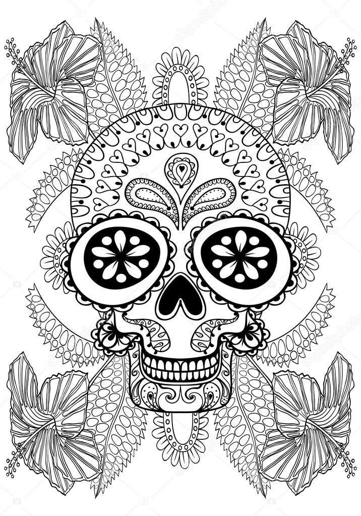 Volwassen Kleurplaten Love Hand Drawn Artistic Skull In Flowers For Adult Coloring
