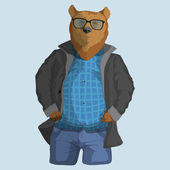Hipster dressed up bear — Stock Vector