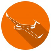 Flat Icon of airliner — Stock vektor