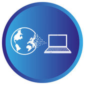 Flat Icon of world with laptop — Stock Vector