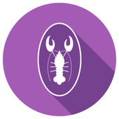 Flat Icon of lobster on plate — Cтоковый вектор