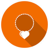 Flat Icon of necklace with heart — Stock Vector