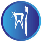 Икона зубная щетка и зубная — Cтоковый вектор