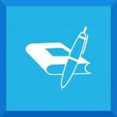 Flat Icon of book with a pen — Stock Vector
