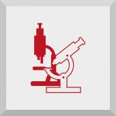 Icon of medical symbol with microscope — Stockvektor