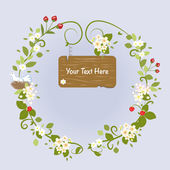 Blossom Frame Fairy Message Text Love Bird Romantic Wreath Vector Illustration — Stock Vector