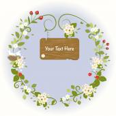 Vintage Wooden sign Romantic Flowers Bird Spring Love Wreath Frame Vector Illustration — Stock Vector