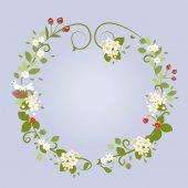 Floral Design Love Spring Beautiful Wedding Wreath Frame Vector Illustration — Stock Vector