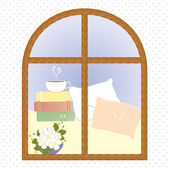Light window city romance coffee break vector illustration — Cтоковый вектор