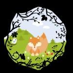 Set Forest Fox Bird Wild Cute Nature Woods Cartoon Vector Illustration — Stock Photo #75771001