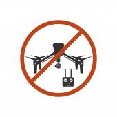 Drone Prohibited Danger Zone Sky Icon Red Vector Illustration — Stock Vector