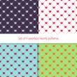 Set of 4 many-colored seamless patterns with rhombuses and hearts — Stock Vector #62340293