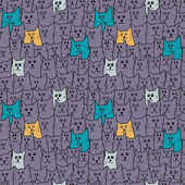 Seamless pattern with cute funny cats in cartoon style. Vector illustration. — Stock Vector