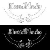 Handmade brand logotypes — Stock Vector