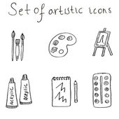 Artistic icons set — Stock Vector
