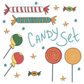 Set of sweet colorful candies — Stock Vector