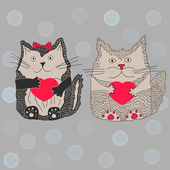 Cats in love with hearts — Stock Vector