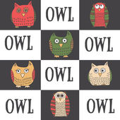 Set of six funny owls — Stock Vector