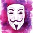 Editorial image: a watercolour drawing of a Guy Fawkes mask — Stock Photo #63068739