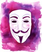 Editorial image: a watercolour drawing of a Guy Fawkes mask — Stockfoto