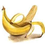 Постер, плакат: Watercolour bananas